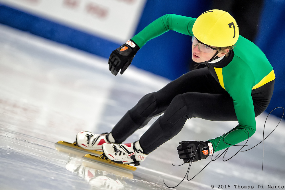March 19, 2016 - Verona, WI - David Scolare, skater number 71 competes in US Speedskating Short Track Age Group Nationals and AmCup Final held at the Verona Ice Arena.