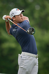August 5, 2018 - Akron, OH, U.S. - AKRON, OH - AUGUST 05:   Si Woo Kim (KOR) watches  his shot from the sixth tee during the final round of the World Golf Championships - Bridgestone Invitational on August 5, 2018 at the Firestone Country Club South Course in Akron, Ohio. (Photo by Shelley Lipton/Icon Sportswire) (Credit Image: © Shelley Lipton/Icon SMI via ZUMA Press)