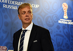 June 16, 2017 - St. Petersburg, Russia - Russia, St. Petersburg, June 16, 2017. Press conference on the eve of the Confederations Cup - 2017 in St. Petersburg. Director of the FIFA Department for competitions and events Colin Smith at a press conference before the start of the Confederations Cup FIFA 2017 in the media center of the St. Petersburg Arena. (Credit Image: © Andrey Pronin via ZUMA Wire)