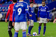 Cardiff Citys Harry Wilson and Cardiff City Leandro Bacuna stand over a free kick during the EFL Sky Bet Championship match between Cardiff City and Queens Park Rangers at the Cardiff City Stadium, Cardiff, Wales on 20 January 2021.