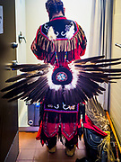 06 MAY 2017 - ST. PAUL, MN: A man gets ready to dance at the 6th Annual Powwow for Hope at Ft. Snelling in St. Paul. The powwow was a fundraiser to support cancer education and supportive services for American Indian communities. Proceeds benefited the American Indian Cancer Foundation's work to eliminate cancer burdens on American Indian families. Cancer is the leading cause of death in Native American communities, exceeding coronary disease and diabetes.       PHOTO BY JACK KURTZ