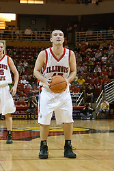 01 January 2006..Brandon Holtz eyes the goal from the free throw line...The Southern Illinois Saluki's chewed up the Illinois State Redbirds with 37 points in the 2nd half to beat the birds with a final score of 65-52.  An audience of just over 7500 watched the in Redbird Arena on the campus of Illinois State University in Normal Illinois.....