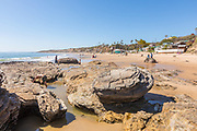 Visitors on the Beach at the Tide Pools of Little Corona del Mar