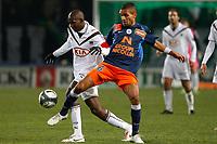 FOOTBALL - FRENCH CHAMPIONSHIP 2009/2010  - L1 - MONTPELLIER HSC v GIRONDINS BORDEAUX - 16/12/2009 - PHOTO PHILIPPE LAURENSON / DPPI - MARVEAUX (MON) / DIARRAQ (BOR)