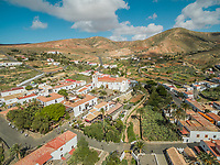 Aerial view of the small  Betancuria village and its Santa Maria Church in Fuerteventura, Canary Islands.