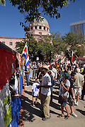 Attendees of Tucson Meet Yourself, an annual festival celebrating culture and diversity, patronize food vendors in Tucson, Arizona, USA.