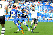 """Fulham""""s Ross McCormack (r) challenges Cardiff's Joe Mason (10). Skybet football league championship match, Cardiff city v Fulham at the Cardiff city stadium in Cardiff, South Wales on Saturday 8th August  2015.<br /> pic by Carl Robertson, Andrew Orchard sports photography."""