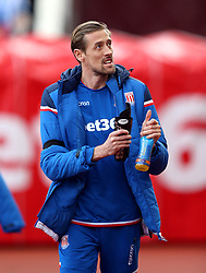 Stoke City's Peter Crouch applauds the fans before the Premier League match at the bet365 Stadium, Stoke