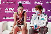 Tlekenova Adilya during qualifying in Pesaro World Cup at Vitrifrigo Arena Pesaro on May 28-29, 2021. Alina is an Kazakh rhythmic gymnastics athlete
