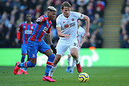 Crystal Palace's Patrick van Aanholt is challenged by Sheffield United's Sander Berge during the Premier League match at Selhurst Park, London. Picture date: 1st February 2020. Picture credit should read: Paul Terry/Sportimage