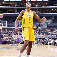 24 August 2014: Los Angeles Sparks forward/center Sandrine Gruda (7) eyes the basket during the Phoenix Mercury 93-68 victory over the Los Angeles Sparks, in a Conference Semi-Finals at the Staples Center, Los Angeles, California, USA.
