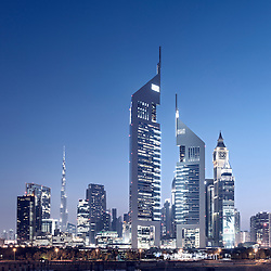 Evening view of skyline of financial and business district of Dubai in United Arab Emirates
