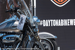 "A new Road King with a 107"" Milwaukee-Eight engine at the Harley-Davidson display at the Daytona Speedway during Daytona Bike Week. Daytona Beach, FL. USA. Wednesday March 15, 2017. Photography ©2017 Michael Lichter."