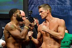 "Nov 12, 2016 - New York, New York, U.S. - Tyron ""The Chosen One"" Woodley  and Stephen ""Wonderboy"" Thompsonduring weigh-in at UFC 205 in Madison Square Garden. (Credit Image: ? Jason Silva/ZUMA Wire/ZUMAPRESS.com)"
