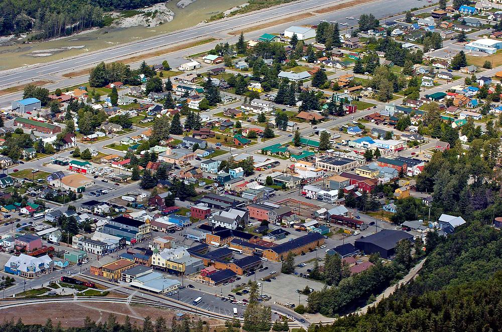Alaska, Skagway. Aerial view of Nakhu Bay and the Lynn Canal
