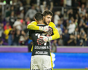 01/10/2018. Orlando, USA.  <br /> <br /> CORINTHIANS SP V PSV EINDHOVEN 2018 Florida Cup.<br /> <br /> CORINTHIANS No 17 Giovanni Augusto  celebrates  with Goalkeeper Caique after he scores the wining penalty after the game finished 1-1  Corinthians win 5-4 on Penalties DURING THE FIRST MATCH OF THE 2018 FLORIDA CUP BETWEEN CORINTHIANS AND PSV EINDHOVEN. <br /> <br /> At  ORLANDO CITY STADIUM, Orlando.<br /> Pic: Mark Davison /PLPA