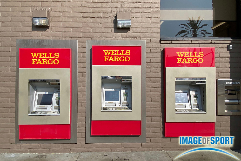 A general view of automated teller machines at Wells Fargo Bank, Friday, Sept. 18, 2020, in Monterey Park, Calif.