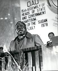 1968 - Credit: Camerapix African Leaders At OAU Summit In Khartoum. Sudan: ''The Big Daddy'', Idi Amin Dada of Uganda addressing the OAU meeting here. (Credit Image: © Keystone Pictures USA/ZUMAPRESS.com)