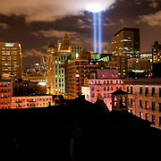 'Tribute in Light' as seen from Canal street on the evening of Sept 11th, 2010.