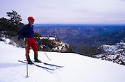 North Rim Nordic Center: Skier at Point Imperial, Grand Canyon National Park, Arizona..Media Usage:.Subject photograph(s) are copyrighted Edward McCain. All rights are reserved except those specifically granted by McCain Photography in writing...McCain Photography.211 S 4th Avenue.Tucson, AZ 85701-2103.(520) 623-1998.mobile: (520) 990-0999.fax: (520) 623-1190.http://www.mccainphoto.com.edward@mccainphoto.com.