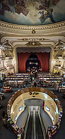 BUENOS AIRES, ARGENTINA - CIRCA AUGUST 2017: Vertical Panorama of the Interior of El Ateneo Grand Splendid Bookstore. The bookstore is considered one of the most beautiful bookstores of the world.