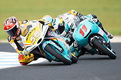 October 21, 2017 - Melbourne, Victoria, Australia - Spanish rider Juanfran Guevara (#58) of RBA BOE Racing Team and Belgian rider Livio Loi (#11) of Leopard Racing in action during the third free practice session at the 2017 Australian MotoGP at Phillip Island, Australia. (Credit Image: © Theo Karanikos via ZUMA Wire)