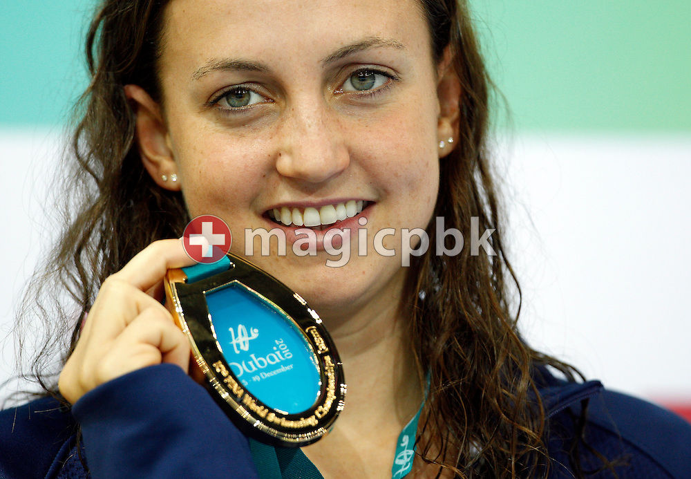 Rebecca SONI of the USA poses with her Gold medal after winning the women's 50m Breaststroke Final during the 10th FINA World Swimming Championships (25m) at the Hamdan bin Mohammed bin Rashid Sports Complex in Dubai, United Arab Emirates, Thursday, Dec. 16, 2010. (Photo by Patrick B. Kraemer / MAGICPBK)