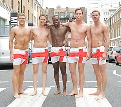 Mr England <br /> a selection of the finalists at a <br /> press photocall<br /> London, Great Britain<br /> 12th July 2011 <br /> <br /> The final of the contest is at the Miss England Finals at the Hilton Metropole Birmingham on 19th July 2011 <br /> <br /> Dean Dibsdall (Mr Bedfordshire)<br /> Jordan Williams (Mr Coventry)<br /> Michael Gray (Mr Derby)<br /> Roland Johnson (Mr Modelzed)<br /> Nathaniel Smith (Mr North East) <br /> <br /> Photograph by Elliott Franks