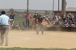 03 June 2017:  Haleigh Bonnell scores the only run for the Panthers.  Argenta Oreana Bombers at Le Roy Panthers for the IHSA Class 1A Le Roy Regional Finals in Le Roy Illinois