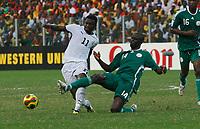 Photo: Steve Bond/Richard Lane Photography.<br />Ghana v Nigeria. Africa Cup of Nations. 03/02/2008. Sulley Muntari (L) is dispossessed by George Olofinjana (R)