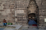 The ancient walls of one of several hans noticeable in downtown Kayseri, one of Turkey's primary industrial and manufacturing hubs.