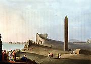 Obelisks at Alexandria called Cleopatra's Needles. Aquatint of 1802 after original by Luigi Mayer.
