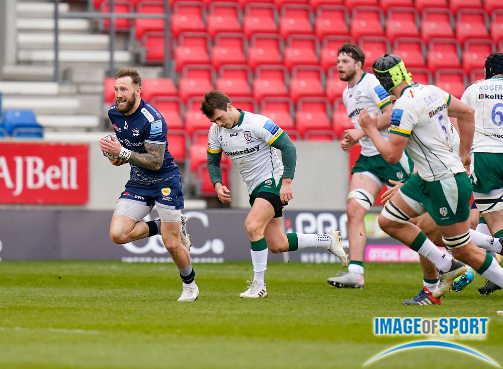 Sale Sharks wing Byron McGuigan makes a break during a Gallagher Premiership Round 14 Rugby Union match, Sunday, Mar 21, 2021, in Eccles, United Kingdom. (Steve Flynn/Image of Sport)