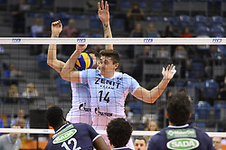 December 16, 2017 - Krakow, Poland - Alexander Gutsalyuk  (14) of VC Zenit Kazan in action during the match between Sada Cruzeiro Volei and VC Zenit kazan during the semi finals of Volleyball Men's Club World Championship 2017 in Tauron Arena. (Credit Image: © Omar Marques/SOPA via ZUMA Wire)