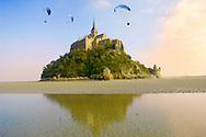 Mont Saint-Michel at low tide- Brittany - France
