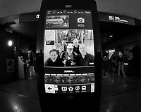 Group Picture a Kiosk in the Subway Station. Image taken with a Nikon D850 camera and 8-15 mm fisheye lens.