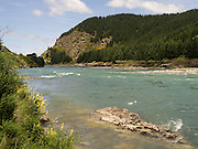 View of the Clutha River, from the east bank, near Beaumont, New Zealand.