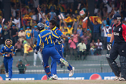 ©London News Pictures. 26/03/2011..Angelo Mathews celebrates the wicket of Ian Bell. Photo credit should read Asanka Brendon Ratnayake/London News Pictures