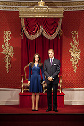 © London News Pictures. 04/04/2012. London, UK.  Wax work figures of The Duke and Duchess of Cambridge, CATHERINE (KATE) MIDDLETON and PRINCE WILLIAM at their unveiling at Madame Tussauds in London on April 4, 2012. The couple are portrayed in their engagement pose.  Photo credit:  Ben Cawthra/LNP