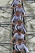 London, Great Britain, Leander I, moving away from Chiswick Bridge, Bow Peter GARDENER, Ian LAWSON, Matt LANGRIDGE, Matt PINSENT, Steve WILLIAMS, Toby GARRBETT and Mark HUNTER. the start of the 2002 Head of the River Race Championship Course Chiswick [Mortlake] to Putney. River Thames. Saturday, [Mandatory Credit. Peter SPURRIER/Intersport Images. 20020323. Head of the River Race, London. UK.