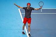 Alexander 'Sasha' Zverev of Germany celebrates winning his match during the Nitto ATP World Tour Finals at the O2 Arena, London, United Kingdom on 16 November 2018. Photo by Martin Cole