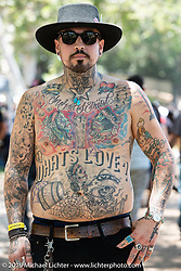 Notable tattooing at the Born Free chopper show. Silverado, CA. USA. Saturday June 23, 2018. Photography ©2018 Michael Lichter.