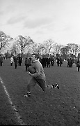 Captain of UCC, McGrath, at speed during practice in Dublin, Friday 12th February, 1965,..Irish Rugby Football Union, Ireland v England, Five Nations, Irish Rugby team practice, Dublin, Ireland, Friday 12th February, 1965,.13.2.1965, 2.13.1965,..Referee- H S Laidlaw, Scottish Rugby Union, ..Score- Ireland 5 - 0 England, ..Irish Team, ..T J Kiernan,  Wearing number 15 Irish jersey, Full Back, Cork Constitution Rugby Football Club, Cork, Ireland,..P J Casey, Wearing number 14 Irish jersey, Right Wing, Landsdowne Rugby Football Club, Dublin, Ireland, ..M K Flynn, Wearing number 13 Irish jersey, Right Centre, Wanderers Rugby Football Club, Dublin, Ireland, ..K J Houston, Wearing number 12 Irish jersey, Left Centre, Bruff Rugby Football Club, Limerick, Ireland, and, Oxford University Rugby Footabll Club, Oxford, England,..P J McGrath,  Wearing number 11 Irish jersey, Left Wing, University college Cork Rugby Football Club, Cork, Ireland,..C M H Gibson, Wearing number 10 Irish jersey, Stand Off, Cambridge University Rugby Football Club, Cambridge, England, and, N.I.F.C, Rugby Football Club, Belfast, Northern Ireland, ..R M Young, Wearing number 9 Irish jersey, Scrum Half, Queens University Rugby Football Club, Belfast, Northern Ireland,..S MacHale, Wearing number 1 Irish jersey, Forward, Landsdowne Rugby Football Club, Dublin, Ireland, ..K W Kennedy, Wearing number 2 Irish jersey, Forward, Queens University Rugby Football Club, Belfast, Northern Ireland,..R J McLoughlin, Wearing number 3 Irish jersey, Captain of the Irish team, Forward, Gosforth Rugby Football Club, Newcastle, England, ..W J McBride, Wearing number 4 Irish jersey, Forward, Bective Rangers Rugby Football Club, Dublin, Ireland,  ..W A Mulcahy, Wearing number 5 Irish jersey, Forward, Bective Rangers Rugby Football Club, Dublin, Ireland,  ..M G Doyle, Wearing number 6 Irish jersey, Forward, University College Dublin Rugby Football Club, Dublin, Ireland,..R A Lamont, Wearing number 8 Irish jersey, Forward, Inst