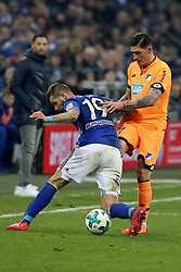 GELSENKIRCHEN, Feb. 18, 2018  Hoffenheim's Andrej Kramaric and Schalke's Guido Burgstaller vie for the ball during the German Bundesliga soccer match between FC Schalke 04 and Hoffenheim, in Gelsenkirchen, western Germany, on Feb. 17, 2018. Schalke won 2-1. (Credit Image: © Joachim Bywaletz/Xinhua via ZUMA Wire)