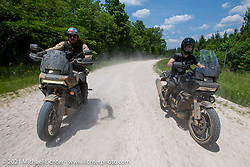 Danger Dan and Sean Lichter on a Sunday ride with brand new Harley-Davidson Pan-America adventure bikes on roads around the Tennessee Motorcycles and Music Revival at Loretta Lynn's Ranch. Hurricane Mills, TN, USA. May 23, 2021. Photography ©2021 Michael Lichter.