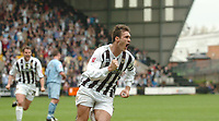 Photo: Leigh Quinnell.<br /> Notts County v Bury. Coca Cola League 2. 06/05/2006.<br /> Notts County captain Julian Baudet celebrates scoring the penalty that keeps them in the football league.