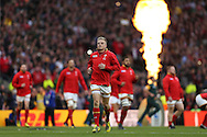 Gareth Anscombe of Wales (c) enters the pitch before k/o. Rugby World Cup 2015 quarter final match, South Africa v Wales at Twickenham Stadium in London, England  on Saturday 17th October 2015.<br /> pic by  John Patrick Fletcher, Andrew Orchard sports photography.