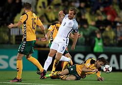 England's Harry Kane in action during the 2018 FIFA World Cup Qualifying Group F match at the LFF Stadium, Vilnius. PRESS ASSOCIATION Photo. Picture date: Sunday October 8, 2017. See PA story SOCCER Lithuania. Photo credit should read: Mike Egerton/PA Wire. RESTRICTIONS: Use subject to FA restrictions. Editorial use only. Commercial use only with prior written consent of the FA. No editing except cropping.