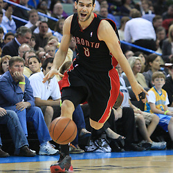 06 February 2009:  Toronto Raptors guard Jose Calderon (8) drives towards the basket during a NBA game between the New Orleans Hornets and the Toronto Raptors at the New Orleans Arena in New Orleans, LA.