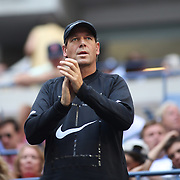 2017 U.S. Open Tennis Tournament - DAY THREE. Sven Groeneveld, coach of Maria Sharapova of Russia, watching her in action against Timea Babosof Hungary during the Women's Singles round two match at the US Open Tennis Tournament at the USTA Billie Jean King National Tennis Center on August 30, 2017 in Flushing, Queens, New York City.  (Photo by Tim Clayton/Corbis via Getty Images)